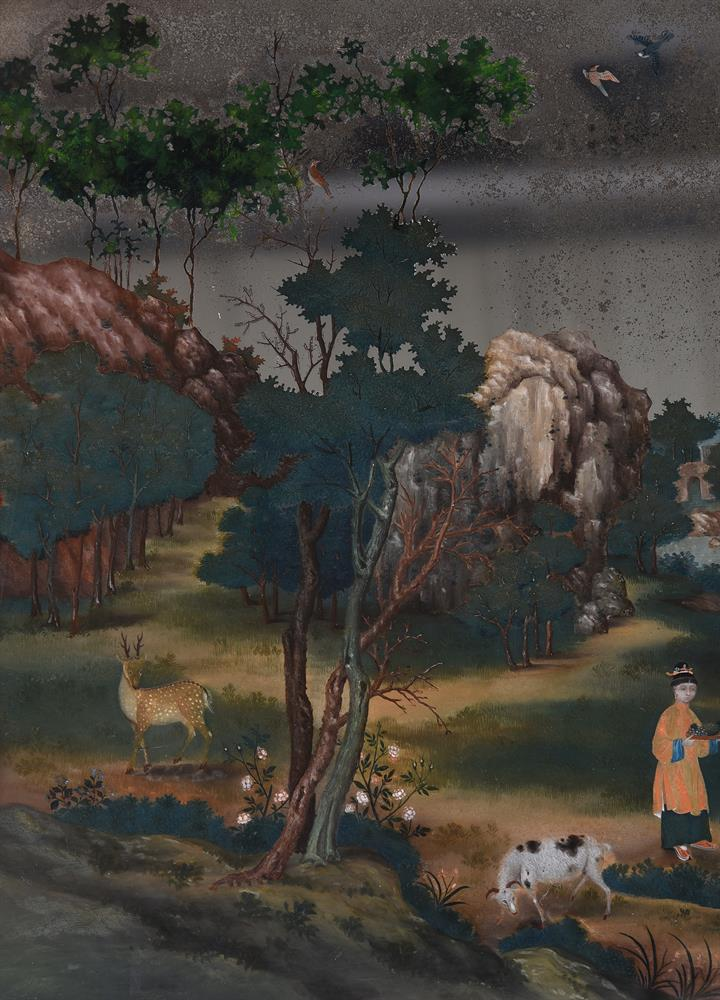 A CHINESE EXPORT REVERSE-PAINTED WALL MIRROR, THIRD QUARTER 18TH CENTURY - Image 4 of 5