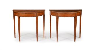 Y A PAIR OF SATINWOOD AND KINGWOOD CROSSBANDED DEMI-LUNE SIDE TABLES, IN GEORGE III STYLE