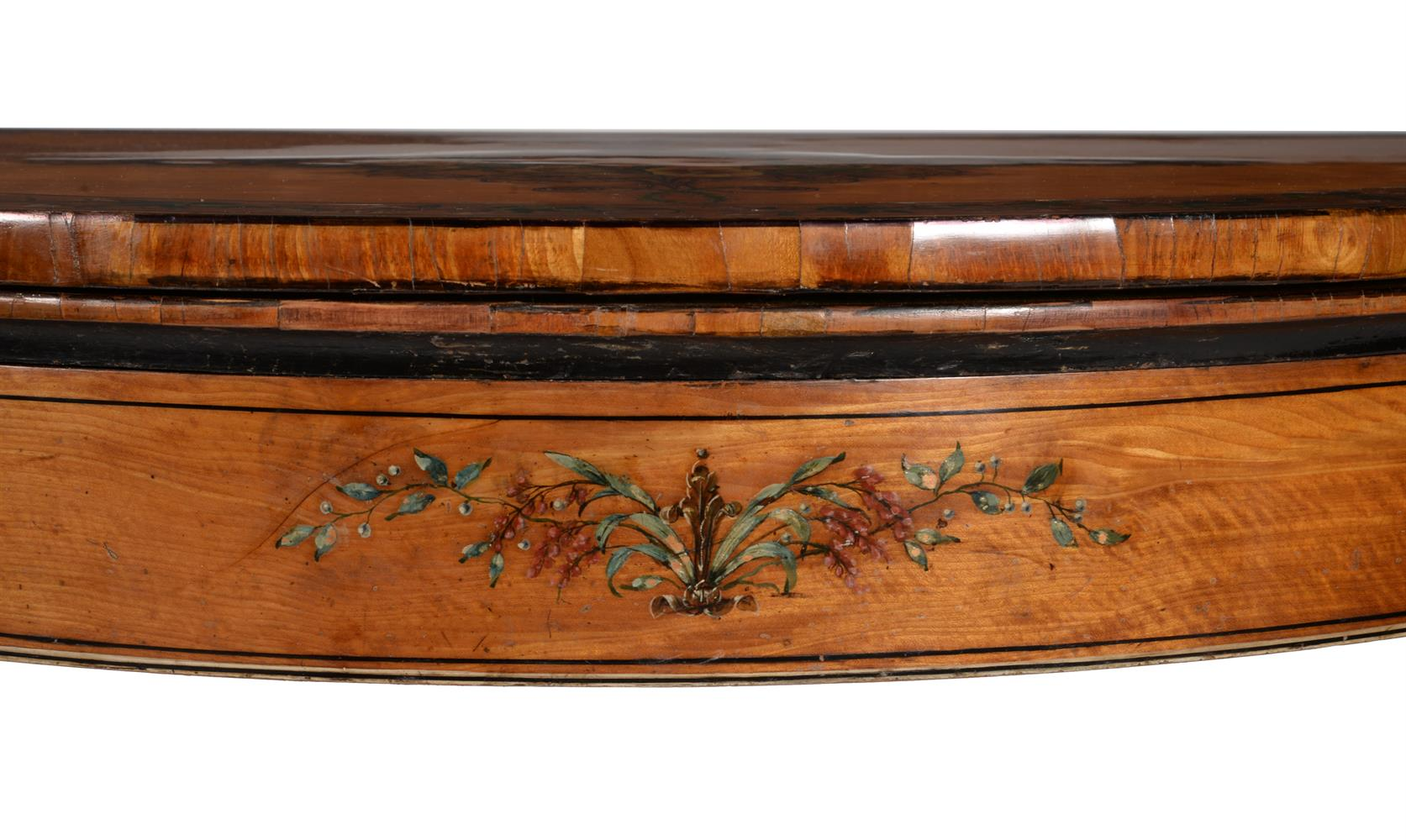 A PAIR OF GEORGE III DECORATED SATINWOOD CARD TABLES, CIRCA 1810 - Image 3 of 8