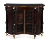 A REGENCY SIMULATED ROSEWOOD, EBONISED AND GILT METAL MOUNTED SIDE CABINET, CIRCA 1820