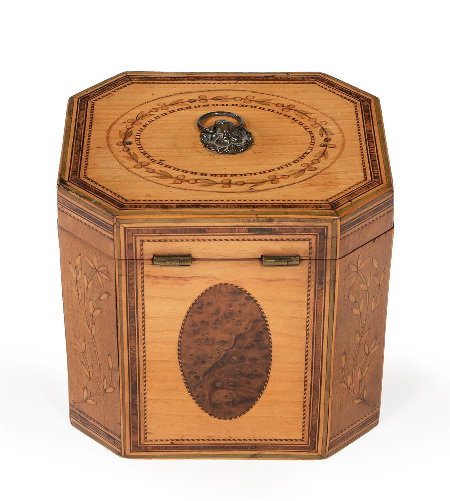A GEORGE III SYCAMORE, BURR YEW, FRUITWOOD, AND SPECIMEN MARQUETRY TEA CADDY, CIRCA 1790 - Image 3 of 4