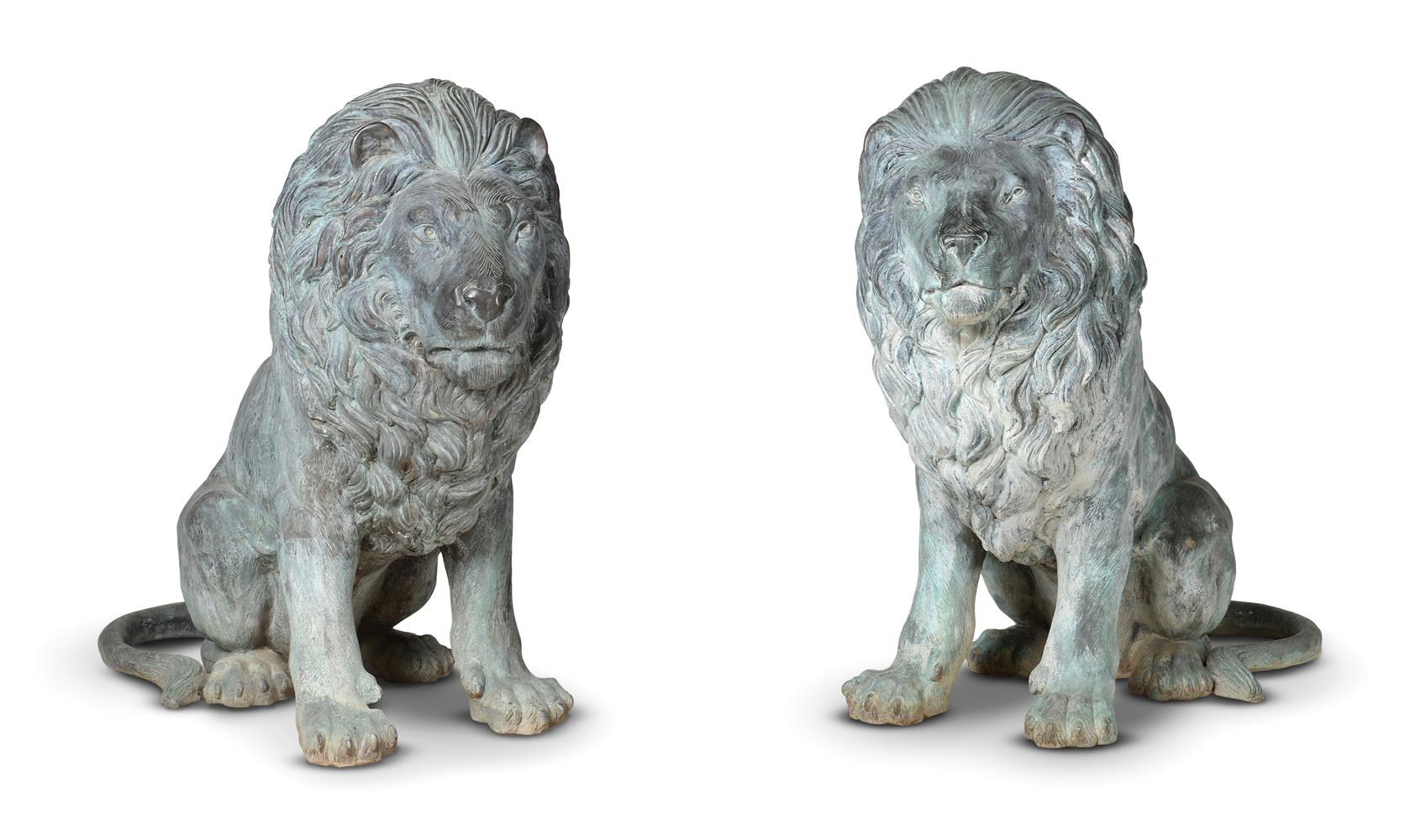 A LARGE PAIR OF BRONZE LIONS, OF RECENT MANUFACTURE - Image 2 of 4