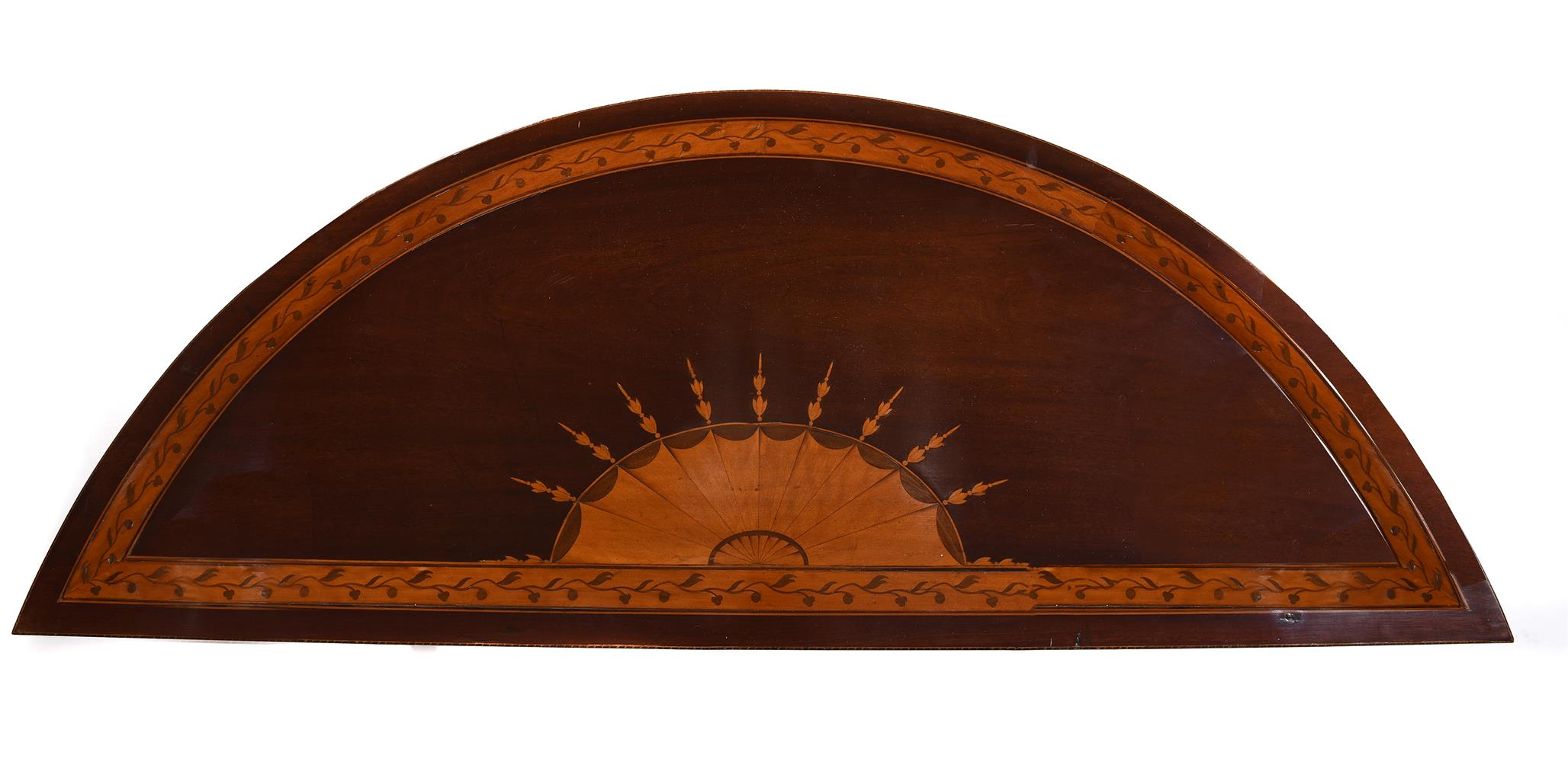 A PAIR OF GEORGE III MAHOGANY, SATINWOOD AND MARQUETRY DEMI-LUNE SIDE TABLES, CIRCA 1790 - Image 5 of 6