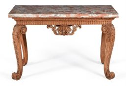 A GEORGE II CARVED WALNUT CONSOLE TABLE, MID 18TH CENTURY, IN THE MANNER OF WILLIAM KENT