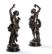 AFTER FRANÇOIS DEVAULX (FRENCH 1808-1870), A PAIR OF FRENCH BRONZE FIGURES OF DANCING BACCHANTES