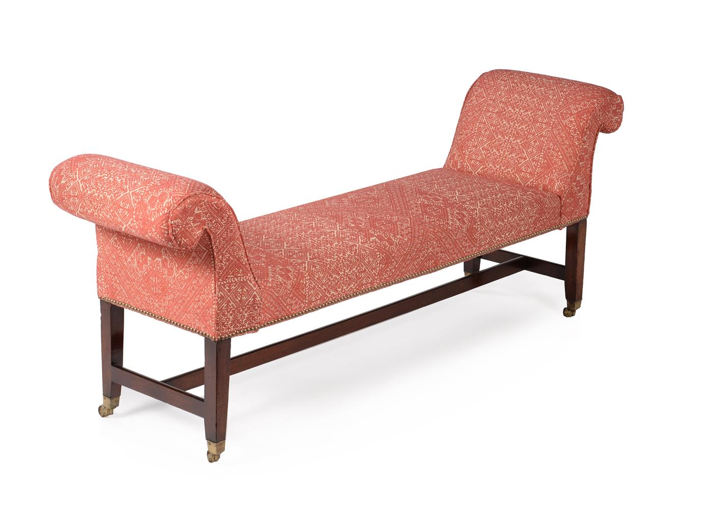 A MAHOGANY AND UPHOLSTERED WINDOW SEAT, CIRCA 1790 AND LATER - Image 3 of 3
