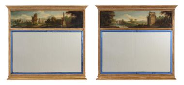 A PAIR OF GILTWOOD TRUMEAU MIRRORS, LATE 19TH/EARLY 20TH CENTURY