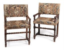 A MATCHED SET OF FOUR WALNUT AND NEEDLEWORK UPHOLSTERED CHAIRSCIRCA 1685 AND LATER To include two