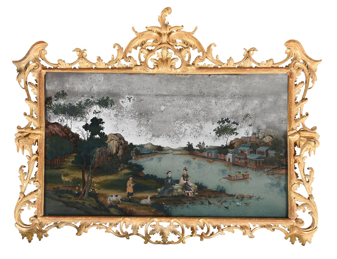 A CHINESE EXPORT REVERSE-PAINTED WALL MIRROR, THIRD QUARTER 18TH CENTURY