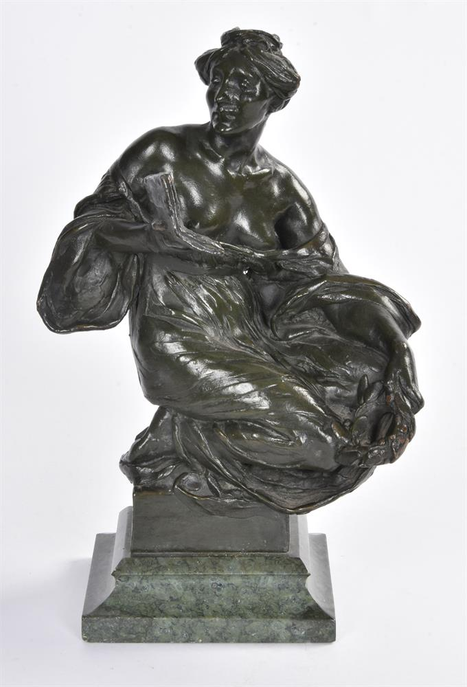 ALFRED DRURY (1856-1944), A PAIR OF BRONZE FEMALE FIGURES OF DRAMA AND LITERATURE - Image 3 of 6