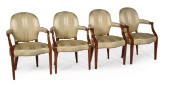A SET OF FOUR GEORGE III SATINWOOD, LINE INLAID, AND SILK UPHOLSTERED OPEN ARMCHAIRS, CIRCA 1790