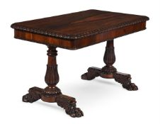 Y A GEORGE IV ROSEWOOD LIBRARY TABLE, CIRCA 1825, IN THE MANNER OF GILLOWS