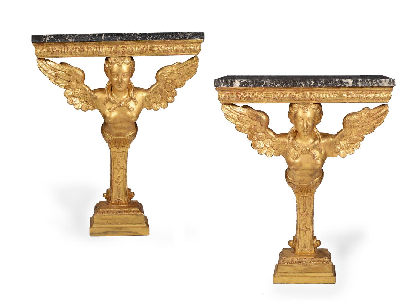 A PAIR OF GILTWOOD CONSOLE TABLES, SECOND QUARTER 18TH CENTURY AND LATER - Image 2 of 7