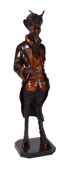 A VENETIAN CARVED PINE AND FRUITWOOD LIFESIZE DEVIL FIGURE, ATTRIBUTED TO FRANCESCO TOSO (D.1893)