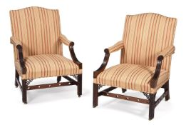A PAIR OF MAHOGANY AND UPHOLSTERED GAINSBOROUGH ARMCHAIRS, 19TH CENTURY