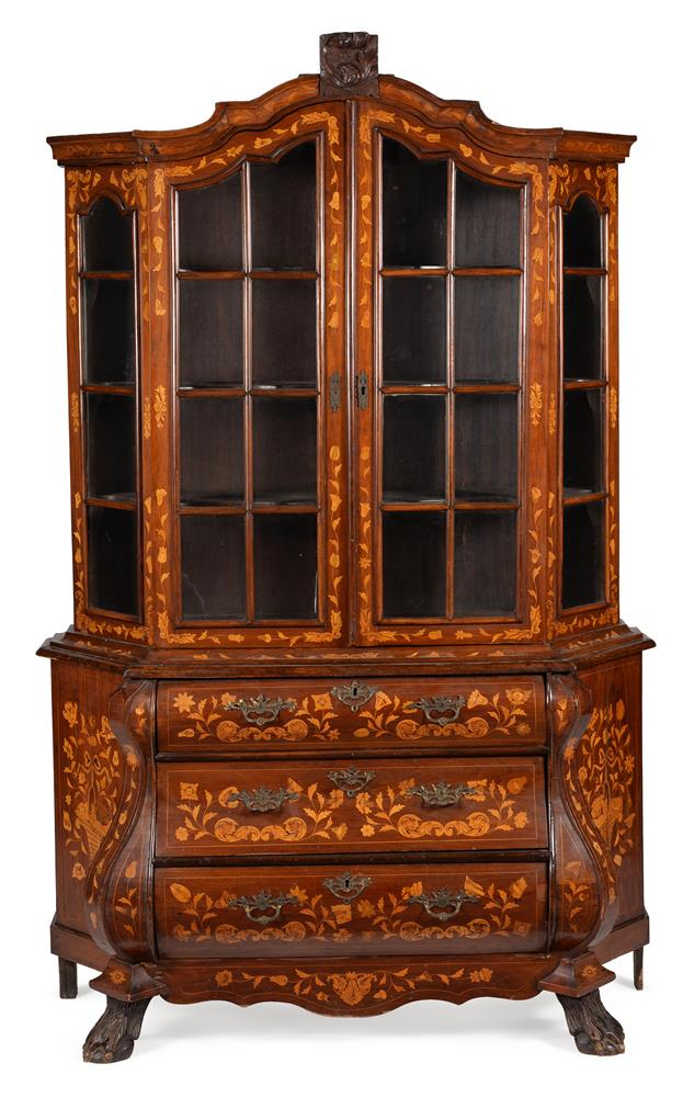 A DUTCH WALNUT AND MARQUETRY INLAID CABINET ON CHEST, LATE 18TH CENTURY