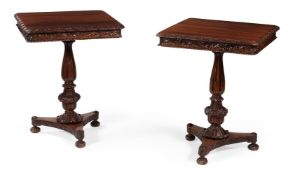A PAIR OF ANGLO-INDIAN CARVED EXOTIC HARDWOOD PEDESTAL TABLES, CIRCA 1830