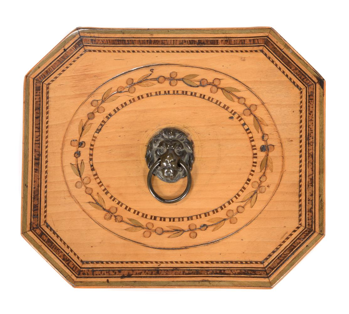 A GEORGE III SYCAMORE, BURR YEW, FRUITWOOD, AND SPECIMEN MARQUETRY TEA CADDY, CIRCA 1790 - Image 2 of 4
