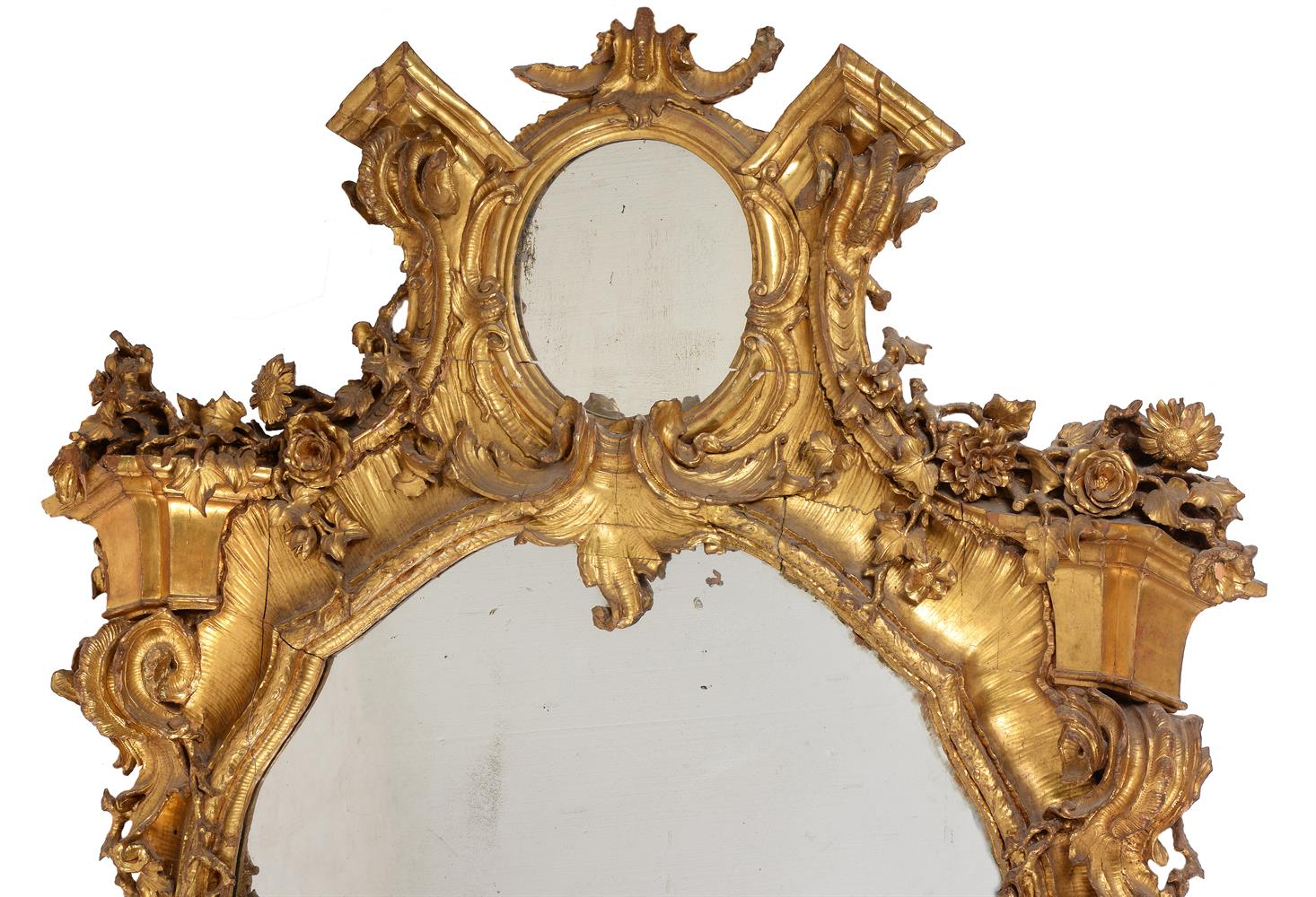 A CONTINENTAL CARVED GILTWOOD WALL MIRROR, 19TH CENTURY - Image 2 of 7