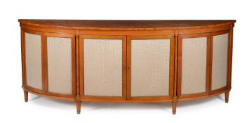 Y A SATINWOOD, BURR ELM, AND TULIPWOOD CROSSBANDED SIDE CABINET, FIRST HALF 19TH CENTURY