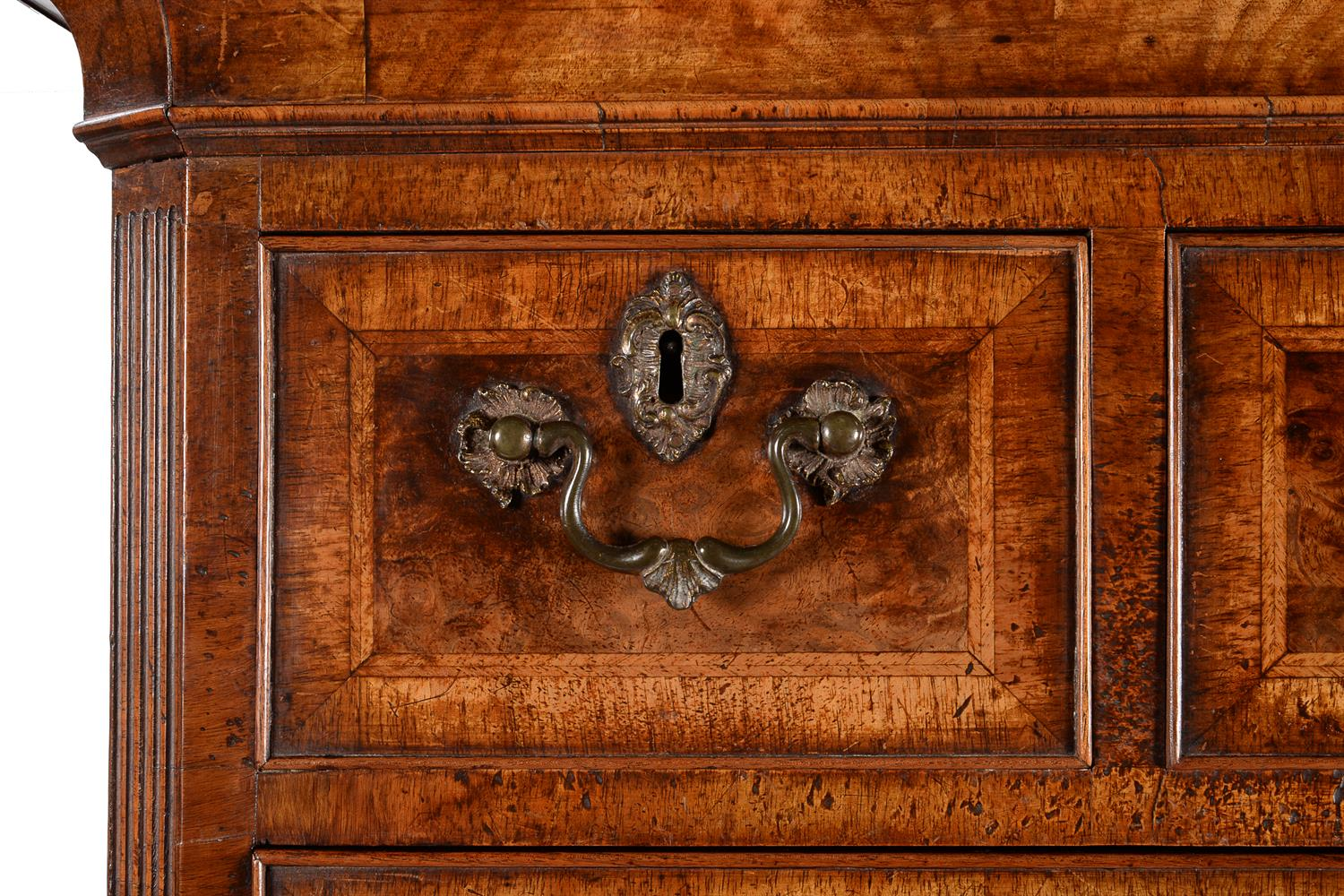 A GEORGE II BURR WALNUT AND FEATHER BANDED CHEST ON CHEST, CIRCA 1735 - Image 2 of 4