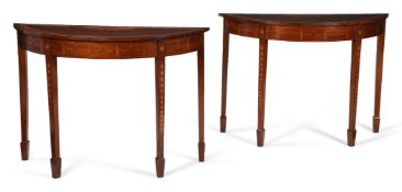 A PAIR OF GEORGE III MAHOGANY, SATINWOOD AND MARQUETRY DEMI-LUNE SIDE TABLES, CIRCA 1790
