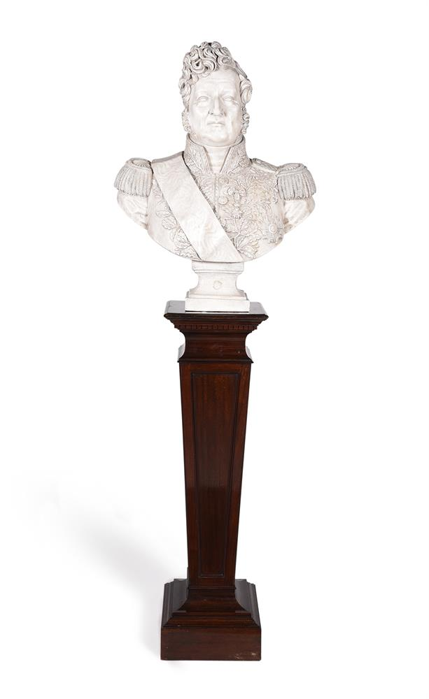 A PLASTER BUST OF LOUIS PHILIPPE I (1773-1850), ON A MAHOGANY PEDESTAL STAND, 20TH CENTURY
