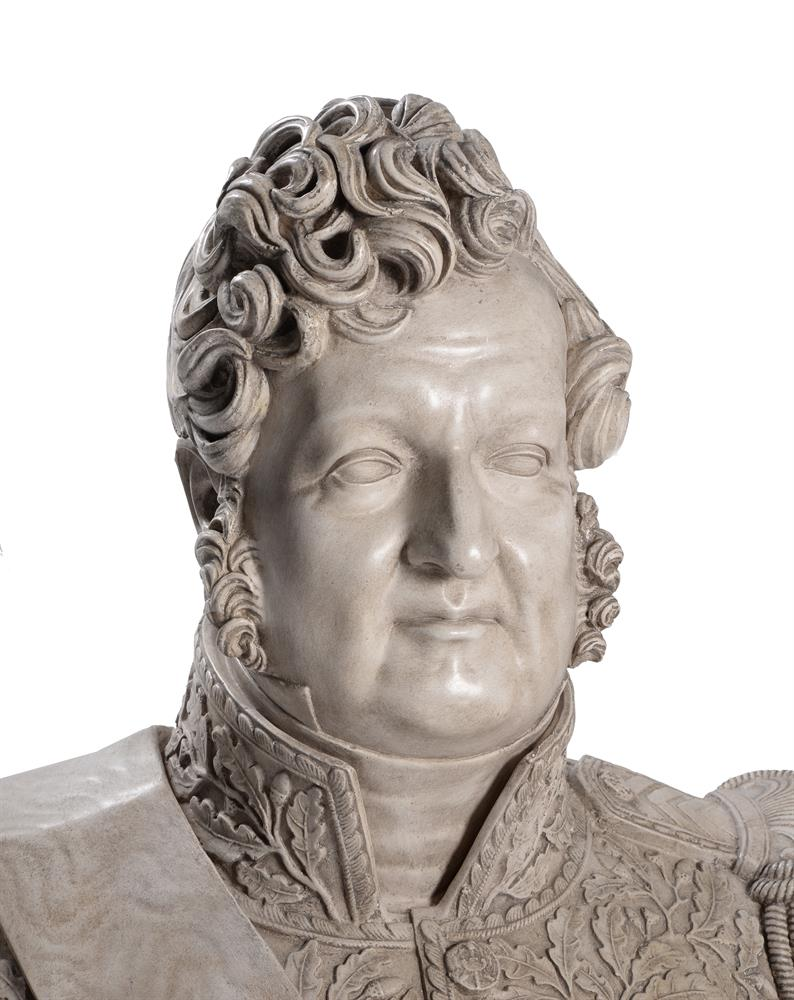 A PLASTER BUST OF LOUIS PHILIPPE I (1773-1850), ON A MAHOGANY PEDESTAL STAND, 20TH CENTURY - Image 4 of 7