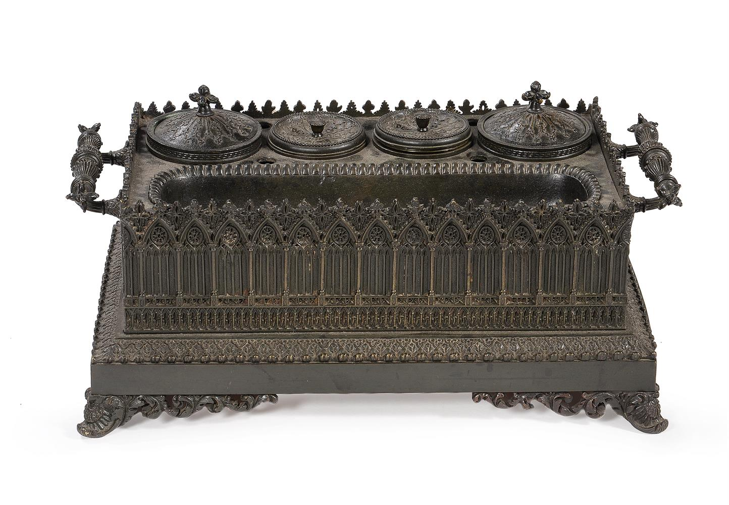 A FRENCH BRONZE GOTHIC INKSTAND, CIRCA 1840 - Image 2 of 4