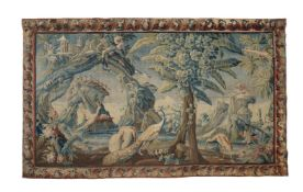 A FRENCH EXOTIC CHINOISERIE LANDSCAPE TAPESTRY, MID-18TH CENTURY