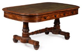 A GEORGE IV MAHOGANY LIBRARY TABLE, CIRCA 1825, IN THE MANNER OF GILLOWS