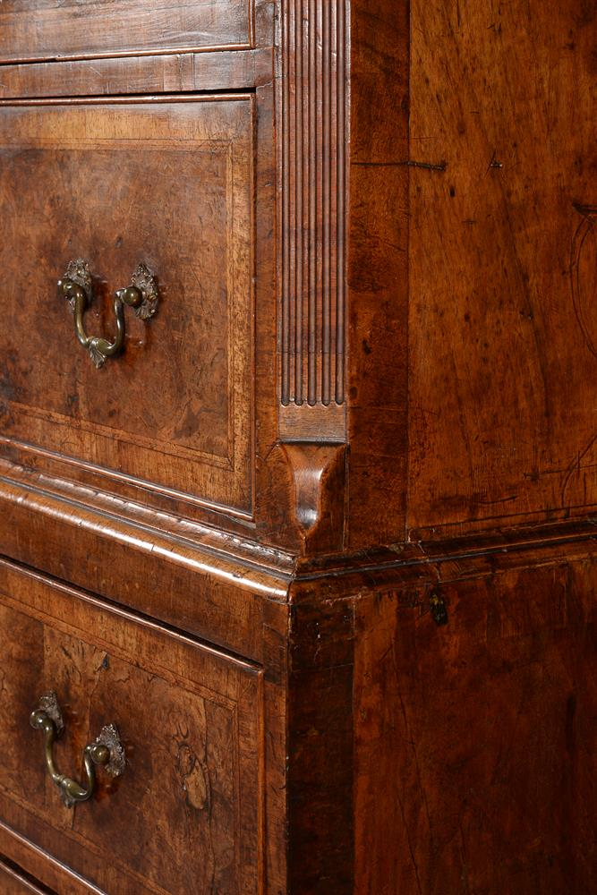 A GEORGE II BURR WALNUT AND FEATHER BANDED CHEST ON CHEST, CIRCA 1735 - Image 3 of 4