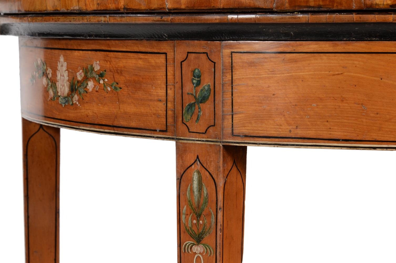 A PAIR OF GEORGE III DECORATED SATINWOOD CARD TABLES, CIRCA 1810 - Image 4 of 8