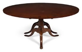 A MAHOGANY TWIN PEDESTAL DINING TABLE, CIRCA 1780 AND LATER