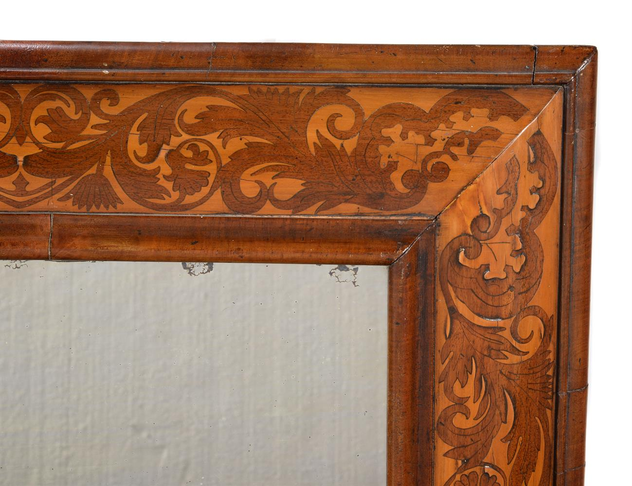 A WILLIAM & MARY WALNUT AND HOLLY MARQUETRY CUSHION FRAMED WALL MIRROR, CIRCA 1690 - Image 2 of 3