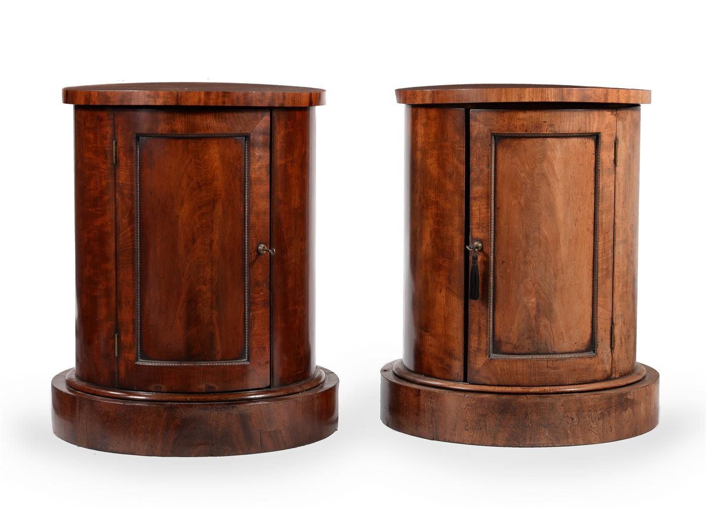 A PAIR OF GEORGE IV MAHOGANY CYLINDRICAL BEDSIDE OR PEDESTAL CUPBOARDS, CIRCA 1825 - Image 3 of 5