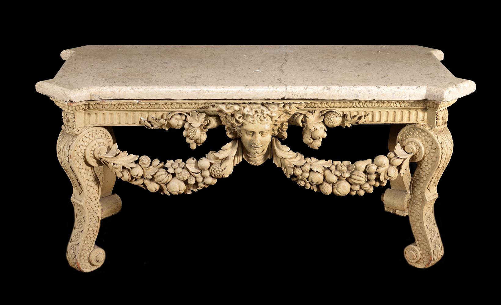 A CREAM PAINTED CARVED WOOD CONSOLE TABLE, IN THE MANNER OF WILLIAM KENT - Image 7 of 9