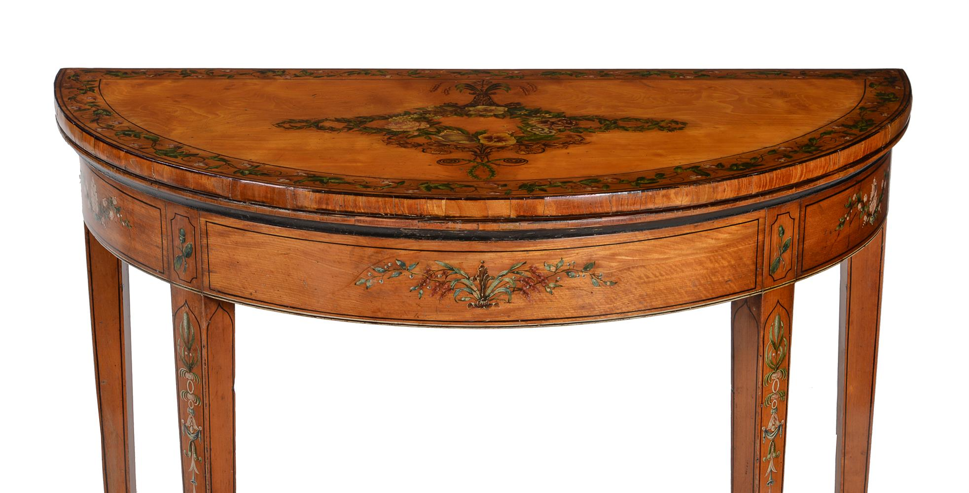 A PAIR OF GEORGE III DECORATED SATINWOOD CARD TABLES, CIRCA 1810 - Image 2 of 8