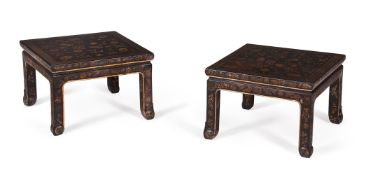 A PAIR OF CHINESE BLACK LACQUER AND GILT DECORATED LOW TABLES, 19TH CENTURY