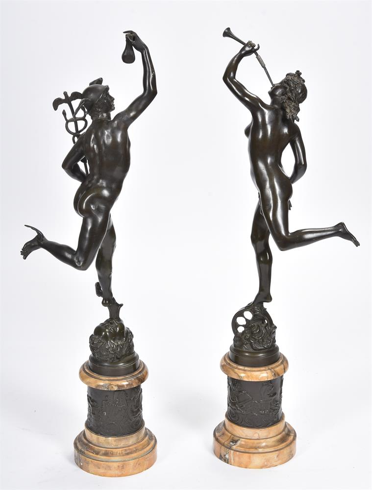 AFTER GIAMBOLOGNA, A PAIR OF BRONZE FIGURES OF MERCURY AND FORTUNA, SECOND HALF 19TH CENTURY - Image 7 of 7