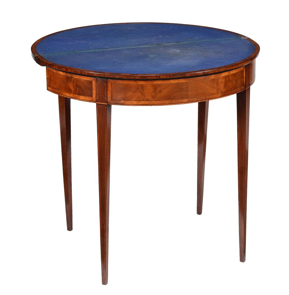 A GEORGE III 'FUSTIC' MAHOGANY AND CROSSBANDED DEMI-LUNE CARD TABLE, CIRCA 1790 - Image 3 of 3