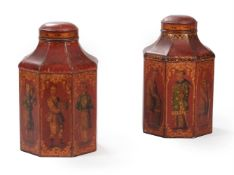 A PAIR OF REGENCY SCARLET TOLE TEA CANISTERS, EARLY 19TH CENTURY
