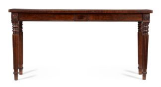 A GEORGE IV MAHOGANY AND EBONISED HALL OR SERVING TABLE, CIRCA 1825