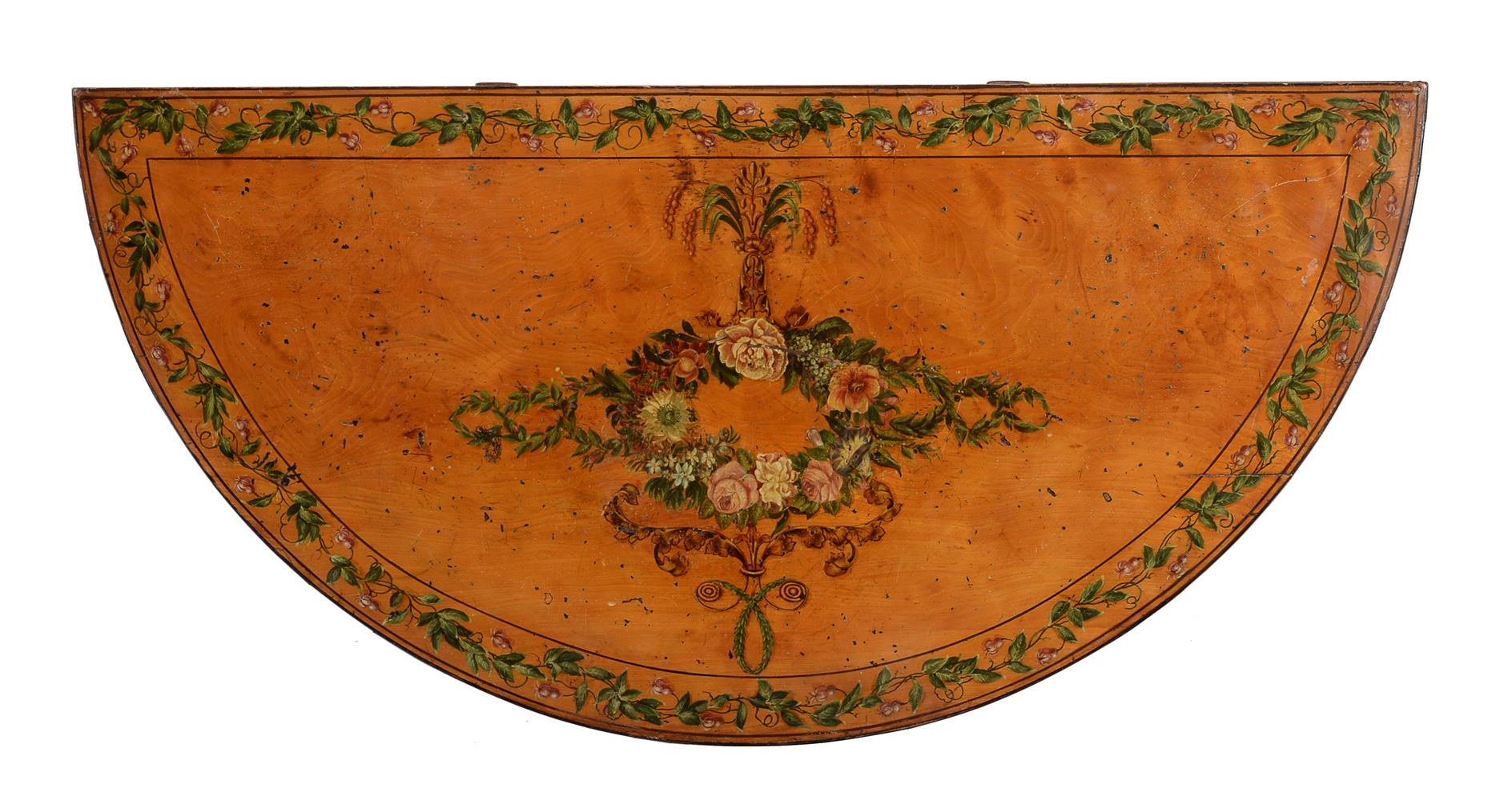A PAIR OF GEORGE III DECORATED SATINWOOD CARD TABLES, CIRCA 1810 - Image 8 of 8