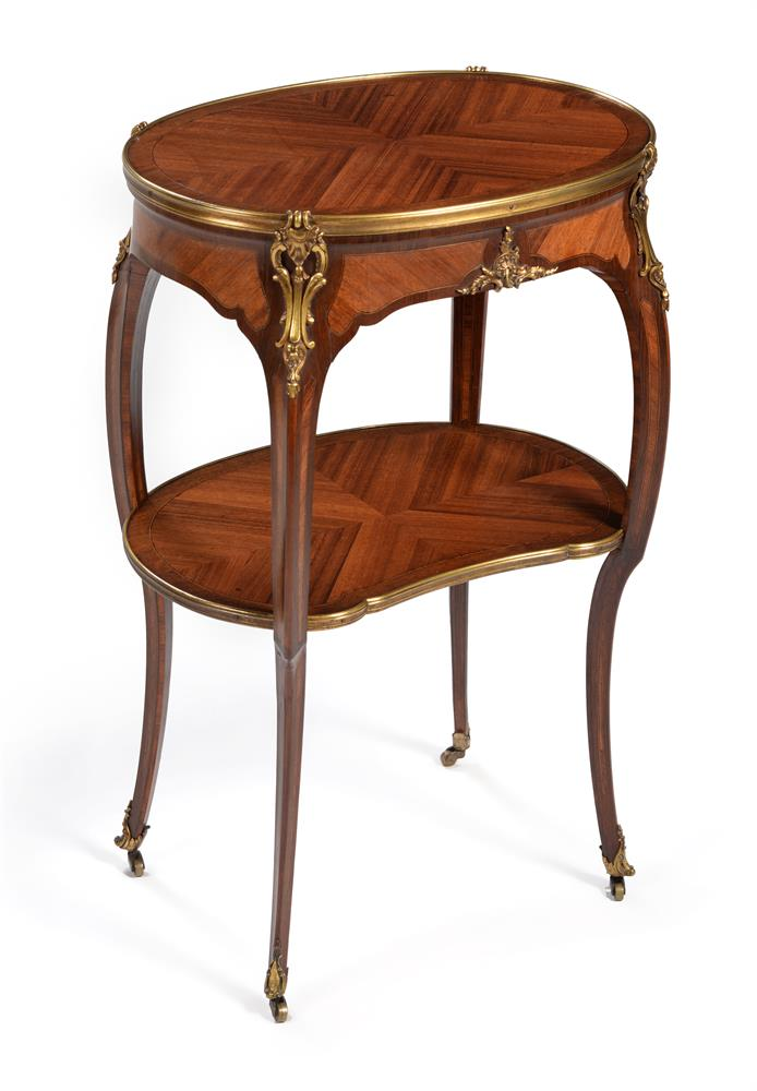 Y A FRENCH MAHOGANY, TULIPWOOD AND ORMOLU MOUNTED TWO TIER OCCASIONAL TABLE, BY GERVAIS DURAND