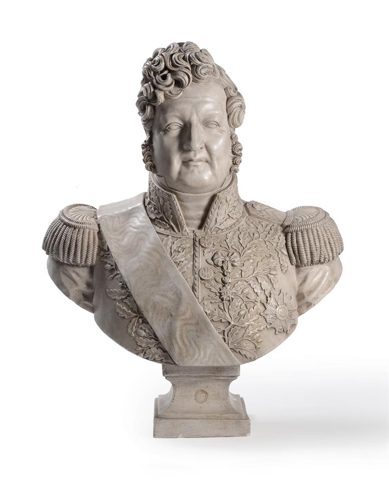 A PLASTER BUST OF LOUIS PHILIPPE I (1773-1850), ON A MAHOGANY PEDESTAL STAND, 20TH CENTURY - Image 3 of 7