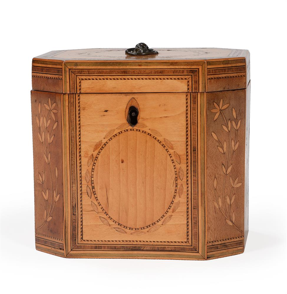 A GEORGE III SYCAMORE, BURR YEW, FRUITWOOD, AND SPECIMEN MARQUETRY TEA CADDY, CIRCA 1790 - Image 4 of 4