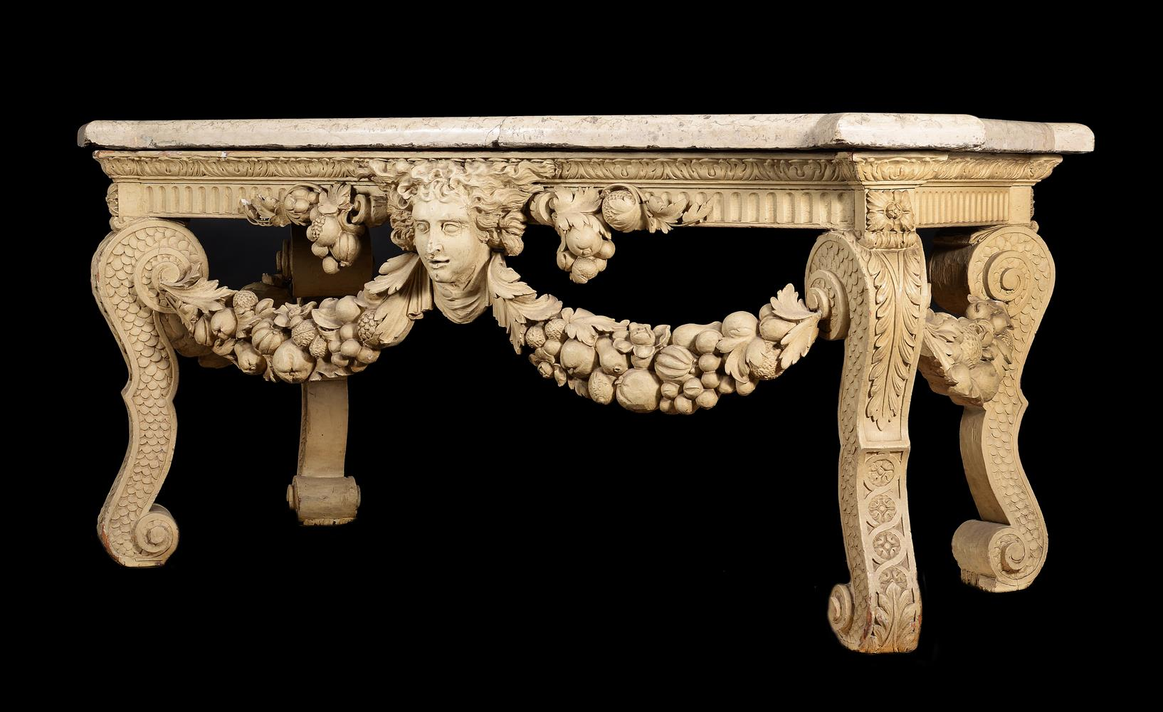 A CREAM PAINTED CARVED WOOD CONSOLE TABLE, IN THE MANNER OF WILLIAM KENT - Image 2 of 9