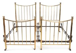 A PAIR BRASS AND IRON BED FRAMES, TOGETHER WITH A FURTHER SIMILAR BED FRAME