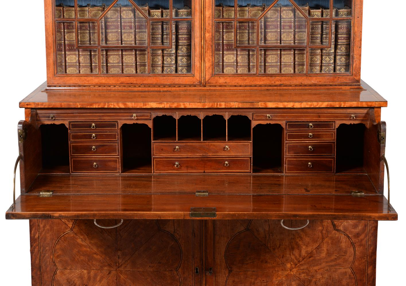 A GEORGE III SATINWOOD AND LINE INLAID SECRETAIRE BOOKCASE, CIRCA 1790 - Image 4 of 6